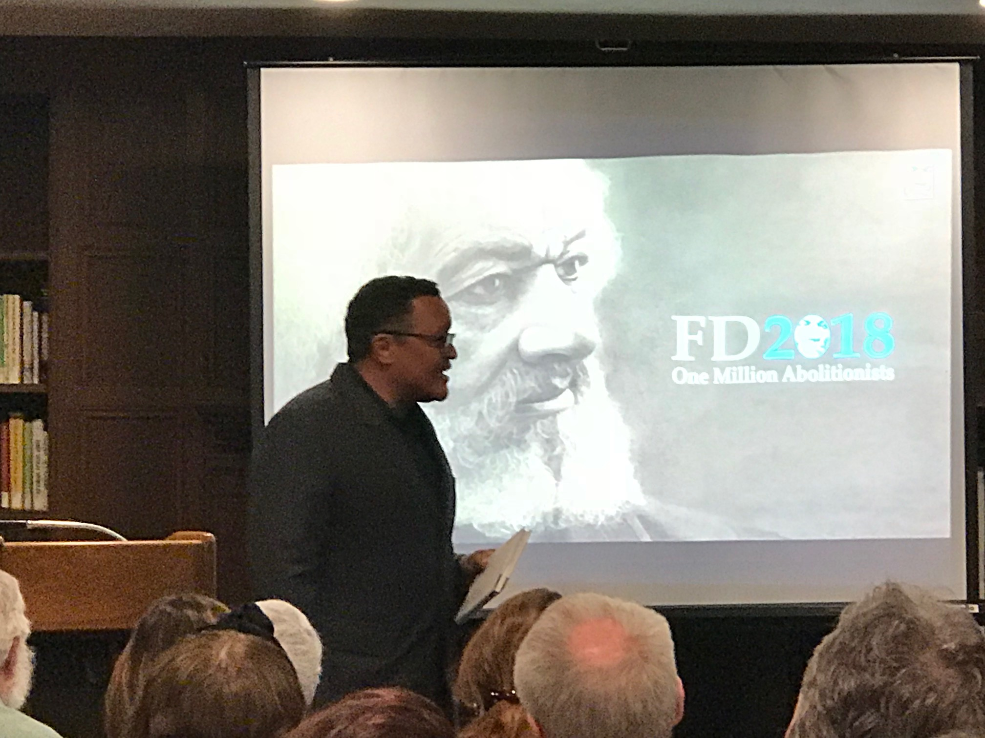 Ken Morris, Jr., great-great-great grandson of Frederick Douglass, speaking at The Walden Woods Project.