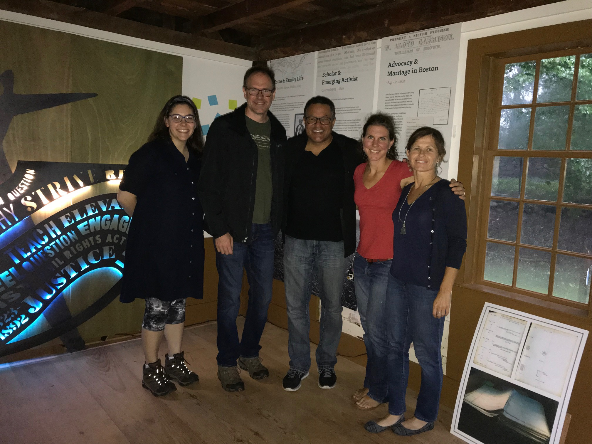 Ken Morris (3rd From Left) Visits The Robbins House With (l-r) Miriam Renz, Matt Burne, And Whitney Retallic Of The Walden Woods Project, And Concord Native Kristin Leary Of Leary Ventures And Frederick Douglass Family Initiatives.