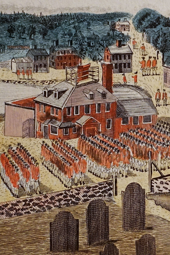 An outcrop from an Amos Doolittle engraving of the Battle of Concord showing the Wright Tavern, 1775.